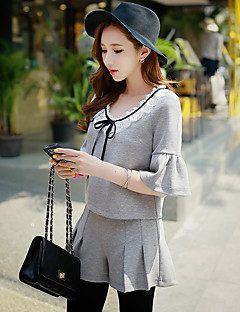 dabuwawa kvinders casual street chic bluse, solid rund hals kortærmet grå