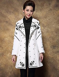 Boutique S Women's Plus Size / Going out Chinoiserie Coat,Solid / Embroidered Notch Lapel Long Sleeve Winter Black