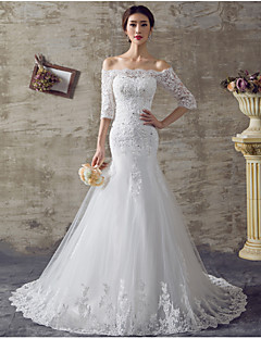 Fit & Flare Wedding Dress Sweep / Brush Train Off-the-shoulder Organza with Beading / Ruffle / Appliques