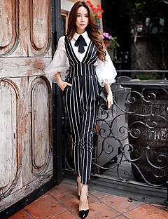 DABUWAWA Women's Solid / Striped Slim Pants,Simple / Sophisticated