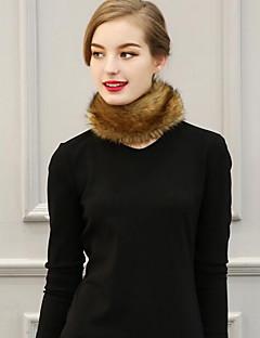 Damer Casual Imiteret pels Halstørklæde-Ensfarvet Uendelighedshalstørklæde