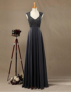 Formal Evening Dress Sheath / Column V-neck Floor-length Chiffon / Lace with Lace