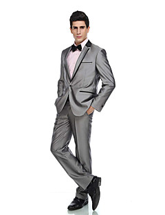 Tuxedos Tailored Fit Notch Single Breasted One-button Viscose / Wool & Polyester Blended Solid 2 Pieces Gray