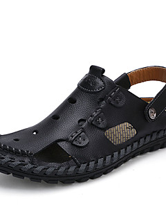 Men's Sandals Summer Leather Casual Flat Heel Others Black Brown Yellow Walking