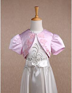 아동 랩 볼레로 짧은 소매 사틴 캔디 핑크 웨딩 파티/이브닝 스쿱 34cm 새해 장식 오픈 프론트