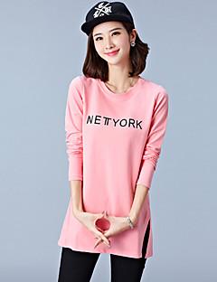 T-shirt Da donna Casual / Taglie forti Semplice Primavera / Autunno,Alfabetico Rotonda Cotone Rosa / Bianco / Nero / Marrone Manica lunga