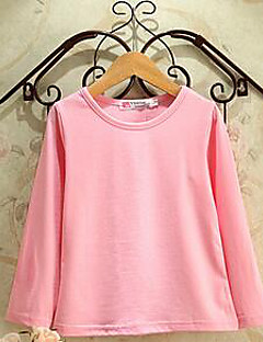 Girl's Casual/Daily Solid Tee,Cotton Spring / Fall Black / Green / Pink / White / Yellow / Gray