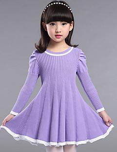 שמלה יום יומי\קז'ואל אחיד דמוי פרווה סתיו כחול / ורוד / סגול / אדום הילדה של