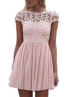 女性 ホリデー Aライン ドレス,ソリッド ラウンドネック 膝上 半袖 ピンク / ホワイト / グリーン / パープル ポリエステル / ナイロン 夏 伸縮性なし 薄手