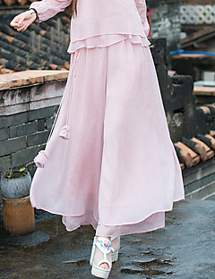 Women's Solid Pink / White / Black / Gray / Green Wide Leg Pants,Chinoiserie