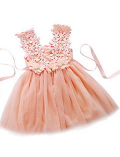 A-line Tea-length Flower Girl Dress - Tulle Sleeveless Straps with Flower(s) / Lace / Sash / Ribbon