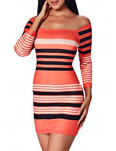 Dámské Sexy / Jednoduché Sportovní Bodycon Šaty Proužky,Tříčtvrteční rukáv Úzký výstřih Mini Oranžová Polyester Všechna období Mid Rise