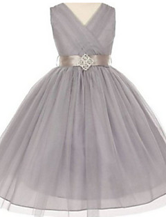 Ball Gown Tea-length Flower Girl Dress - Tulle V-neck with Crystal Detailing