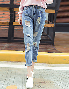 Women's Solid Blue Jeans Pants,Simple / Street chic