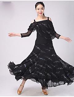 הופעות תלבושות בגדי ריקוד נשים ביצועים פוליאסטר דפוס / הדפסה / Ruched 2 חלקים אורך שרוול 3/4 נפול חצאית / עליון M:56cm;L:58cm;XL:60cm