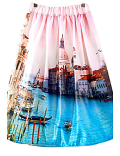 Women's Floral / Print Multi-color Skirts,Cute / Chinoiserie Knee-length