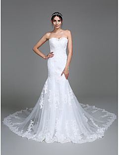 Lanting Bride® Trumpet / Mermaid Wedding Dress Chapel Train Sweetheart Tulle with Appliques / Beading