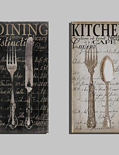 E-HOME® Stretched Canvas Art Metal Cutlery Decorative Painting Set of 2