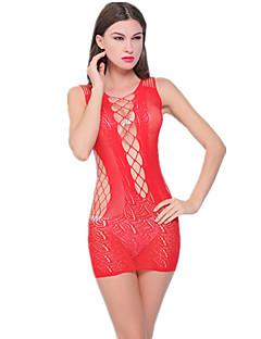 אישה חליפות Nightwear-סקסית / תחרה / Retroדק ניילון / ריון צהוב / אדום / שחור נשים