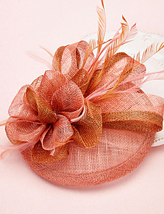 Women's Feather / Tulle Headpiece-Wedding / Special Occasion Fascinators 1 Piece Wedding Hat