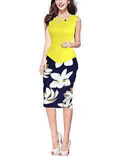 Women's Work Sexy Sheath Dress,Patchwork Asymmetrical Knee-length Sleeveless  Polyester Summer Print Randomly