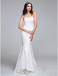 LAN TING BRIDE Trumpet / Mermaid Wedding Dress Floral Lace Sweep / Brush Train Strapless Lace with Lace