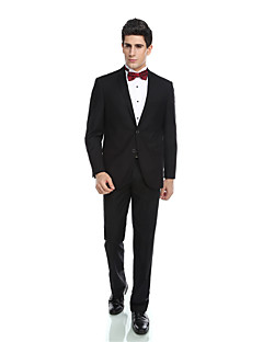 Tuxedos Tailored Fit Notch Single Breasted Two-buttons Viscos/ Wool & Polyester Blended Solid 2 Pieces Black