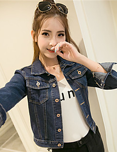 Mulheres Jaquetas Jeans Casual Simples Primavera / Outono,Sólido Azul Algodão Colarinho de Camisa Manga Longa Média