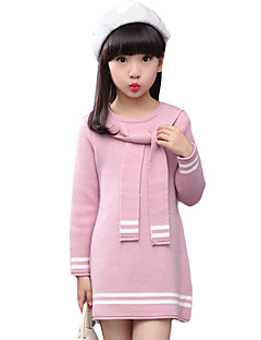 Girl's Casual/Daily Striped Dress,Wool Winter / Fall Black / Pink