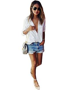 Langærmet Krave Solid Kvinders Hvid Ensfarvet Sommer Simpel Casual/hverdag Skjorte,Bomuld