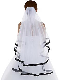 Wedding Veil Two-tier Fingertip Veils Ribbon Edge Tulle White White
