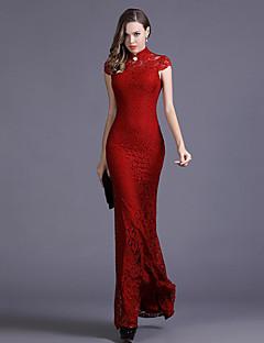 Damen Bodycon Kleid-Ausgehen Sexy Solide Ständer Maxi Kurzarm Rot / Schwarz Kunstseide Herbst Mittlere Hüfthöhe Mikro-elastisch Dünn