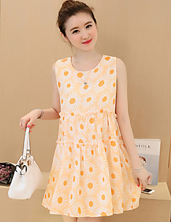 Maternity Casual/Daily Street chic Loose Dress,Floral Round Neck Above Knee Sleeveless Orange / Purple Polyester Summer