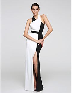 TS Couture 프롬 포멀 이브닝 드레스 - 컬러 블럭 시스 / 칼럼 홀터 넥 바닥 길이 쉬폰 와 앞면 트임