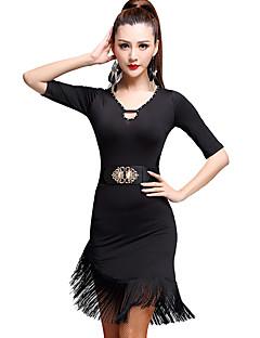 Latin Dance Dresses Women's Training Milk Fiber Tassel(s) 1 Piece  Latin Dance Half Sleeve High Dress