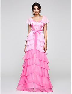 Tubinho Decote V Longo Chiffon Cetim Baile de Fim de Ano Evento Formal Vestido com Babados em Cascata de TS Couture®