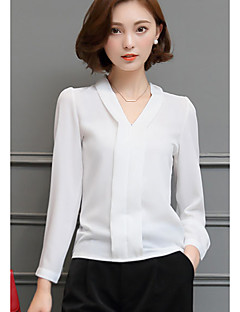 Γυναικεία Μπλούζα Καθημερινά / Δουλειά Απλό / Χαριτωμένο Μονόχρωμο,Μακρυμάνικο Λαιμόκοψη V Άνοιξη / Φθινόπωρο Λεπτό Άλλα Άσπρο