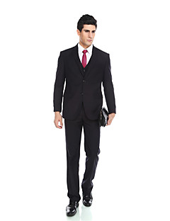Tuxedos Tailored Fit Notch Single Breasted Two-buttons Viscose/ Wool & Polyester Blended Solid 2 Pieces Dark Blue