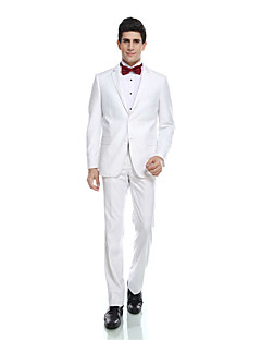 Tuxedos Tailored Fit Notch Single Breasted Two-buttons Rayon(T/R) / Wool & Polyester Blended Solid 2 Pieces White