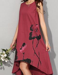 קיץ כותנה כחול / אדום / לבן / אפור ללא שרוולים עד הברך א-סימטרי דפוס וינטאג' יום יומי\קז'ואל / מידות גדולות שמלה משוחרר נשים