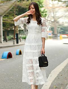csillogó női kiment aranyos laza dresssolid v nyakú maxi ujjú fehér pamut / poliészter tavaszi