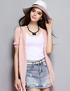 Women's Casual/Daily Simple Spring / Summer Blazer,Solid Peter Pan Collar Short Sleeve Pink Cotton Thin