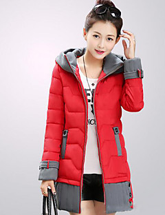 Women's Patchwork Slim Warm Plus Size Padded Coat,Street chic Hooded Long Sleeve