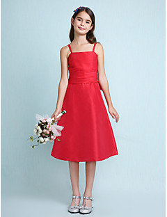Lanting Bride® Knee-length Taffeta Junior Bridesmaid Dress A-line / Princess Spaghetti Straps Natural with Bow(s) / Ruching