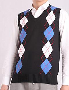 Men's Print Casual Vest,Cotton Sleeveless Black / Blue / Red / White / Gray