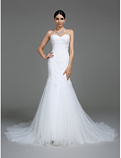 2017 Lanting Bride® Trumpet / Mermaid Wedding Dress Court Train Sweetheart Tulle with Appliques