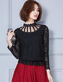 Mulheres Blusa Casual Simples Outono / Inverno,Sólido Branco / Preto / Cinza Algodão / Raiom Gola Alta Manga Longa Fina