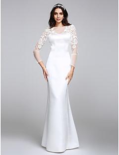 2017 Lanting Bride® Trumpet / Mermaid Wedding Dress Floor-length Jewel Satin with Button / Lace