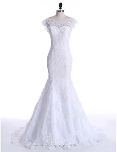 Trumpet / Mermaid Wedding Dress Court Train Scoop Lace / Tulle with Appliques / Lace