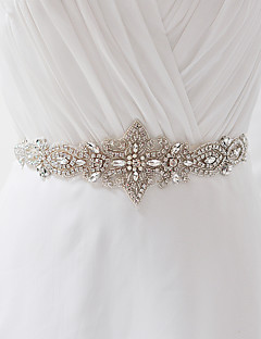 Satin Wedding / Party/ Evening / Dailywear Sash - Beading / Appliques / Pearls / Crystal / Rhinestone Women's Sashes